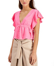 Textured Deep V-Neck Top, Created for Macy's
