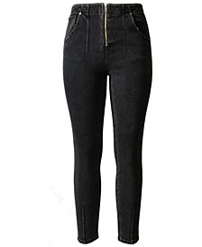 Juniors' Zip-Front High-Rise Skinny Jeans