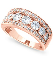 Cubic Zirconia Three Row Band in 18k Rose Gold-Plated Sterling Silver, Created for Macy's