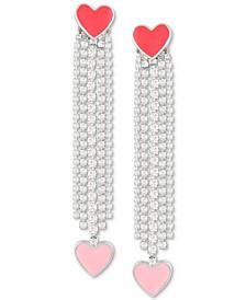 Silver-Tone Crystal & Enamel Heart Linear Drop Earrings