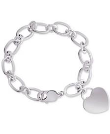 Diamond Heart Charm Bracelet (1/10 ct. t.w.) in Sterling Silver