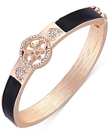 Gold-Tone Jet Black Crystal Hinge Bracelet