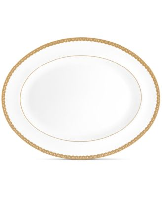 """Lismore Lace Gold Oval Platter 15.5"""""""