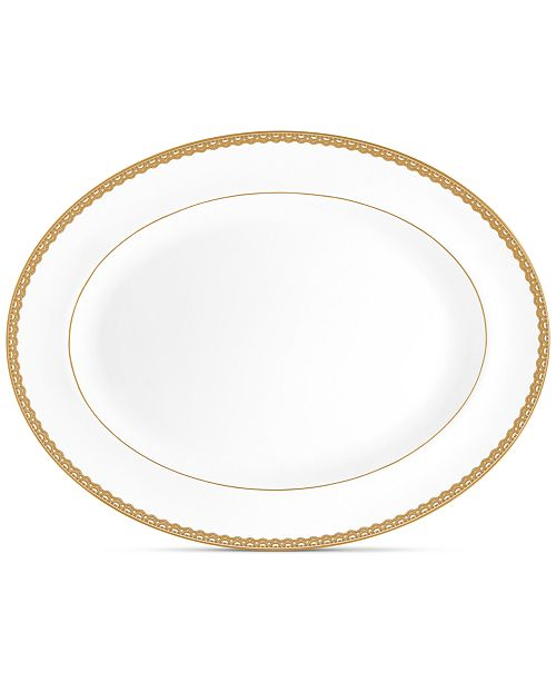 """Waterford Lismore Lace Gold Oval Platter 15.5"""""""