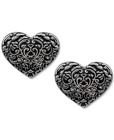 Silver-Tone Tooled Heart Button Earrings