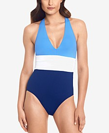 Colorblocked Halter Tummy-Control One-Piece Swimsuit