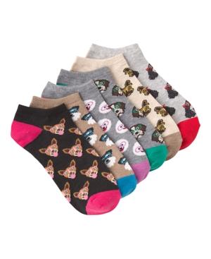 K. Bell Women's Dogs In Glasses Ankle Socks Six Pair Pack