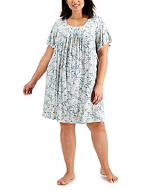 Plus Size Pleated Front Nightgown, Created for Macy's
