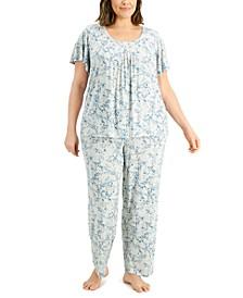 Plus Size Pleated Pajama Set, Created for Macy's