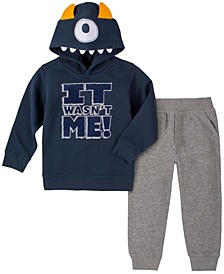 Toddler Boys It Wasn't Me Monster Fleece Hood with Fleece Pant Set, 2 Piece