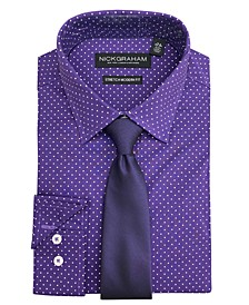 Men's Modern Fit Dress Shirt and Tie Set