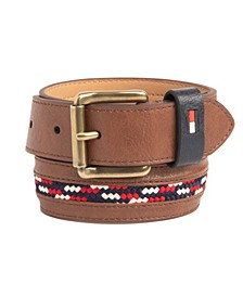 Big Boys Casual Belt with Woven Laced Inlay