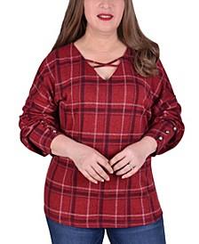 Women's Plus Size Long Sleeve Plaid Top