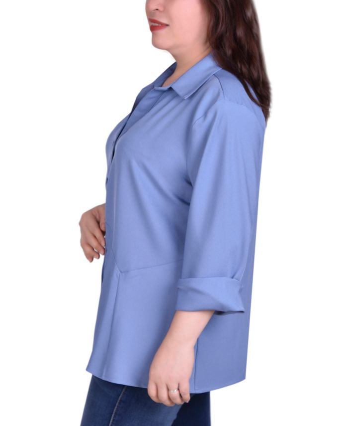 NY Collection Women's Plus Size Button Front Blouse with Wide Cuff & Reviews - Tops - Plus Sizes - Macy's