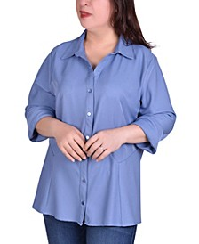 Women's Plus Size Button Front Blouse with Wide Cuff