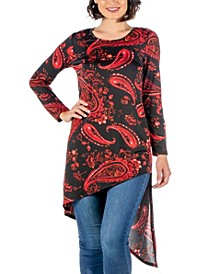 Women's Print Long Sleeve Asymmetric Knee Length Top