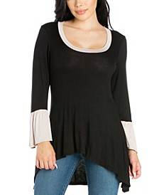 Women's Plus Bell Sleeve High Low Tunic Top