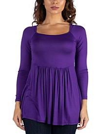 Women's Wide Neck Pleated Long Sleeve Tunic Top