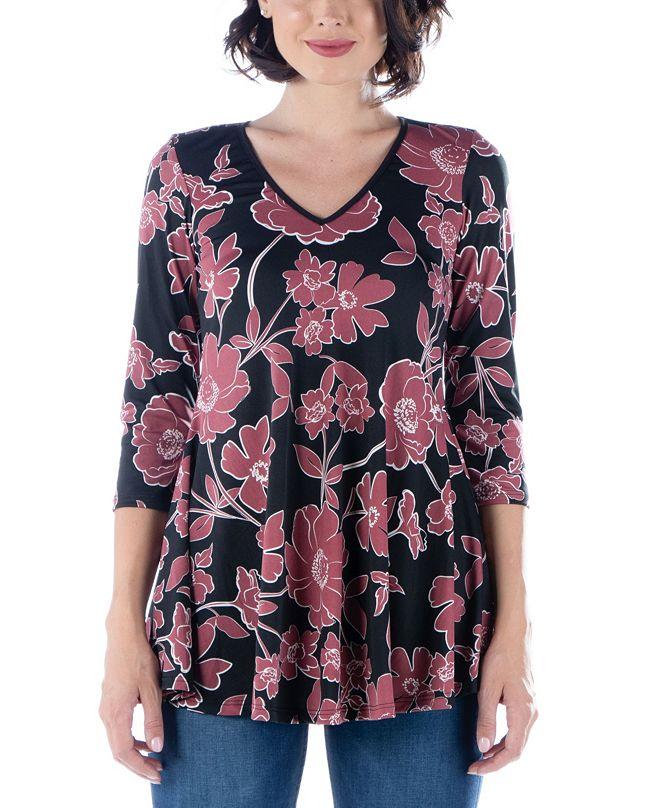 24seven Comfort Apparel Women's Mauve Floral Print V-Neck Flared Tunic Top
