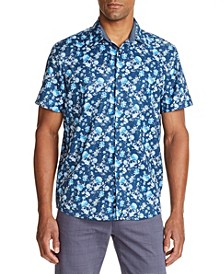 Men's Slim Fit Floral Print Short Sleeve Shirt and a Free Face Mask