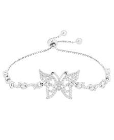 Cubic Zirconia Butterfly Adjustable Bolo Bracelet in Sterling Silver