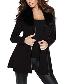 Women's Black Label Faux Fur Collar Zip Up Cardigan