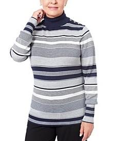 Women's Petite Button-Shoulder Turtleneck Sweater