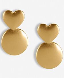 Gold-Tone Heart & Circle Drop Earrings