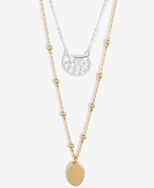 """Two-Tone Pavé Openwork & Oval Layered Pendant Necklace, 18"""" + 2"""" extender"""