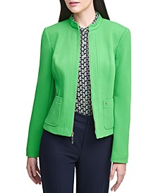 Zippered Elbow-Patch Jacket