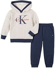 Little Boys Heathered Fleece Hood with Fleece Pant, 2 Piece Set