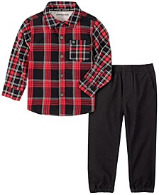 Little Boys Plaids Woven Shirt with Twill Pant, 2 Piece Set