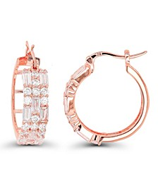 Cubic Zirconia 14K Rose Gold Round and Baguette Hoop Earrings
