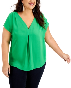 Inc International Concepts Shirts INC PLUS SIZE MIXED-MEDIA DOLMAN-SLEEVE TOP, CREATED FOR MACY'S
