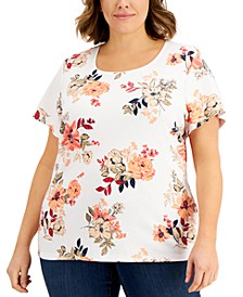 Plus Size Floral-Print Scoop-Neck Top, Created for Macy's