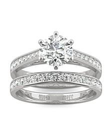 Moissanite Round Brilliant Bridal Set 1-5/8 ct. t.w. Diamond Equivalent in 14k White Gold