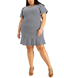 Plus Size Striped Flutter-Sleeve Dress