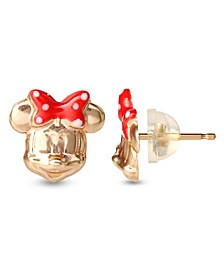Children's Minnie Mouse Bow Stud Earrings in 14k Gold