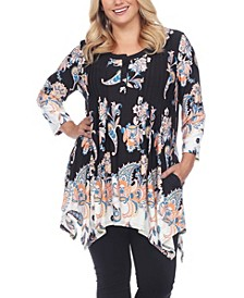 Women's Plus Size Floral Printed Tunic Top