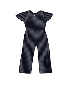 Big Girls Rib Knit Jumpsuit with Tie Back Detail