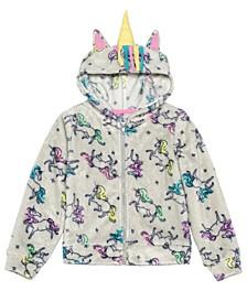 Little Girls Unicorns Runaway Zip Hoodie