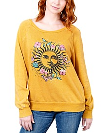 Juniors' Floral Celestial Graphic Sweatshirt