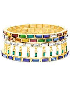 Gold-Tone 4-Pc. Set Multicolor Baguette-Crystal Stretch Bracelets