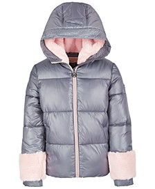 Toddler Girls Puffer Coat with Faux-Fur Lining