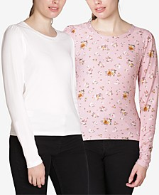 Juniors' Puff-Sleeve Tops 2-Pack