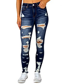 Juniors' High Rise Distressed Skinny Jeans