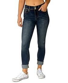 Juniors' Mid-Rise Roll-Cuff Skinny Jeans