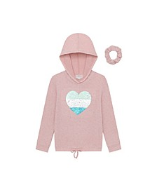 Girls Long Sleeve Glitter Hacci Hoodie with Scrunchie