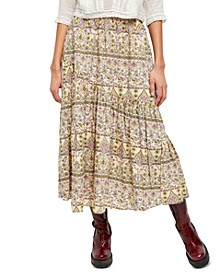 All About The Tiers Printed Midi Skirt
