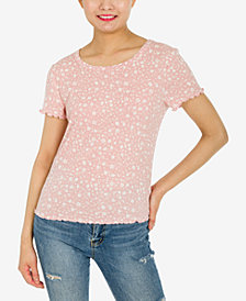 Hippie Rose Juniors' Lettuce-Edge Ribbed T-Shirt